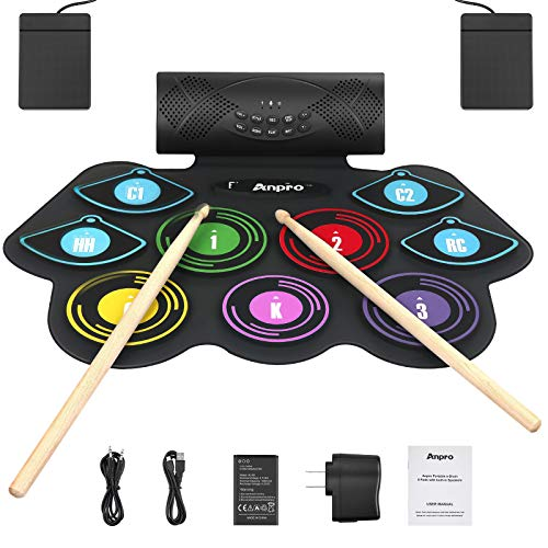 Anpro Electronic Drum Set Foldable Built-in Speaker,9 Pads Stereo Electronic Drum Kit with MIDI Portable Roll up Drum Pad,USB/Battery Charge for Beginners