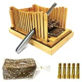 Bread Slicers for Homemade Bread with Crumb Catcher Tray, Compact Foldable Bamboo Bread Cutter Guide, 100 Bread Bags & 100 Twist Ties, Thickness Adjustable, Thick & Thin Slices 1/3', 3/8' and 1/2'