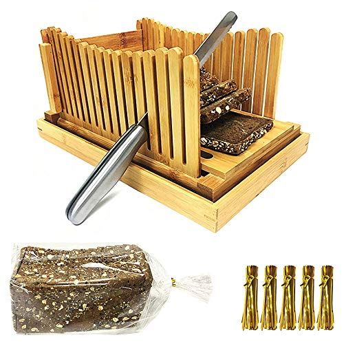 7. FLAPRV Foldable Bamboo Bread Cutter Guide with Crumb Tray