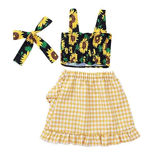 Kinder Baby Mädchen Sonnenblume Blumen Weste Tops Plaid Rock Stirnband Outfits