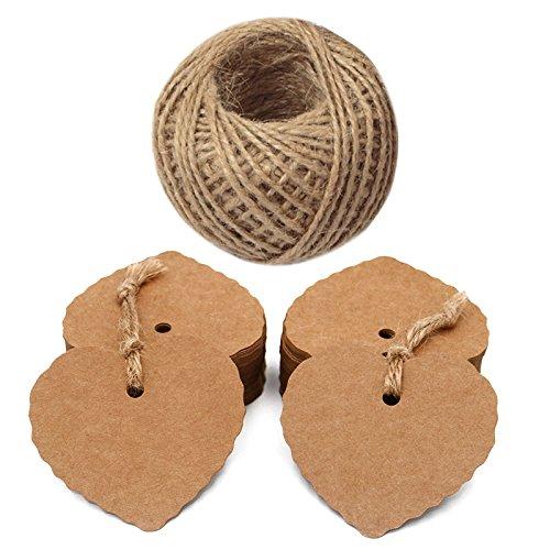 Hjärta taggar, 100 st presentetiketter, bröllop favorit hängande etiketter med 30 meter sträng för alla hjärtans dag, mors dag eller gör-det-själv-hantverk och prislappar 6 cm x 5.5 cm Brun
