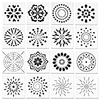 WANDIC マンダラ絵画ステンシル, 16個 マンダラドット絵テンプレート さまざまなパターンのステンシル DIY絵画アートプロジェクト用, 5.1インチ