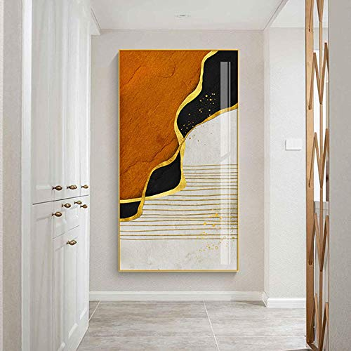 Cuadros Abstractos de Pared para Sala de Estar Dormitorio Montañas Río con líneas Doradas Lienzo Pintura Arte de la Pared Cartel Decoración del hogar-60x80cm(Sin Marco)