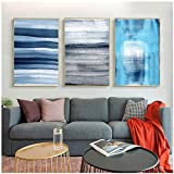 Moderno Abstracto Azul líneas Lienzo impresión Pintura minimalismo nórdico Cuadros de Arte de Pared para Sala de Estar decoración del hogar 15.7x19.7in (40x50cm) x3pcs SIN Marco