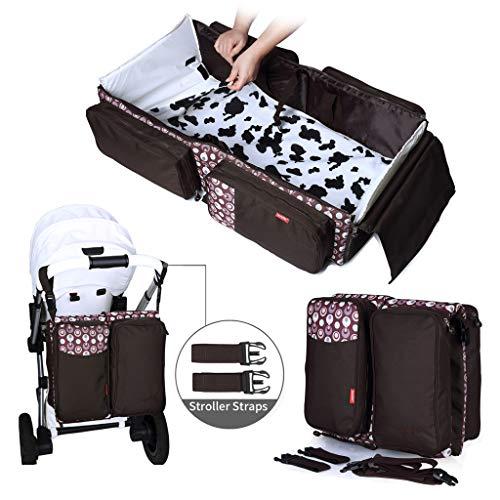Wickeltasche mit Wickelunterlage, Babywiege,Tragbare Reisekrippe, Faltbares Bett, Multifunktionale Tragetasche für Babys 0-12 Monate,Braun