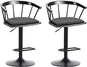 Barkruk CHY Set van 2 verstelbare bar hoogte stoel met rug PU-leer Swivel keukenbar eetkamerstoelen