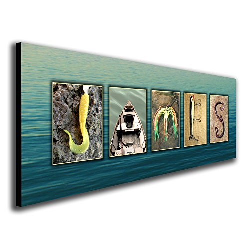 Personalized Fishing Name Alphabet Art - Perfect for the man cave, office, or boy's room. (Block Mount - 6.5 x 18)