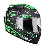 CGM casco integrale 307G VALENCIA JEREZ, Nero Verde fluo opaco, S (55-56cm)