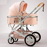 Cochecito de cochecito compacto, carro de bebé plegable, cochecito de altablero con resortes anti-shock, canasta de alta capacidad, cochecito de bebé con accesorios, taza de taza, cubierta de pie YZPT