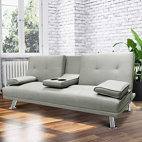 HCROMAT Modern Faux Leather Futon Sofa Bed, Convertible Couch with Armrest Metal Legs Cup Holders for Living Room, Gray