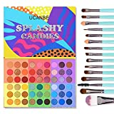 UCANBE 54 Colors Splashy Candies Eyeshadow Palette + 15pcs Makeup Brush Set, Highly Pigment Matte Metallic Shimmer Glitter Eye Shadow Bright Color Long Lasting Waterproof Easy Blending Make Up Pallet