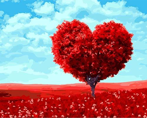Xpboao Pintar por número - Árbol de Amor árbol Rojo en Forma de corazón - Kit de Pintura acrílica de Bricolaje para Adultos y niños - Kit de decoración del hogar - 40x50cm - Sin Marco