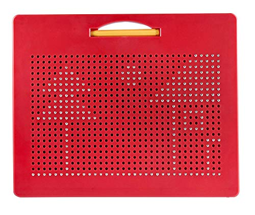 Playmags Magna Drawing Board – Fun Design & Draw Travel Tablet w/ 748 Built-in Magnetic Balls, Matching Stylus Pen & Easy Carry Handle Clean, Creative Fun & STEM Education for Toddlers Age 3+, Red