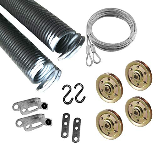 Pair 27-48-110lbs 8/' White Garage Door Extension Spring /& Safety Cables Repair