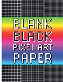 Blank black pixel art: Black graph papers sketchbook for Pixelart with posca markers, gel pens, gelly roll, ink… Progressively tighter grid to ... squared A4 pages, evolutive grid paper.
