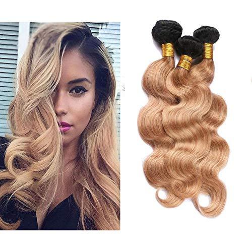 Mila 3 Tissage en Lot Bresilienne Vierge Cheveux Ondules Ombre 1B/27# Blond Miel Tissage 100% Naturel Remy Blond Human Hair Bundles (12\