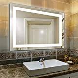 32 x 24 inch Bathroom Vanity Mirror, LED Backlit+Wall Mounted + Defogger & Dimmable Touch Switch + UL Listed + Polished Eadge &Frameless + 5500K Cool White +3000K Warm + CRI90 + Vertical&Horizontal