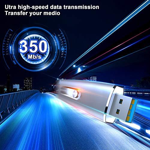 USB C Flash Drive, Vansuny 128GB USB 3.1 Flash Drive 350Mb/s Dual Drive USB Type C Thumb Drive 128G USB C Drive Super Speed Solid State USB Drive (128G,Silver)