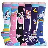 SDBING 3-12 Years Old Girls Knee High Socks Kids Cute Funny Animal Pattern Long Boot Socks 6 Pairs (6 Pairs Unicorn, 3-12 Years Old)