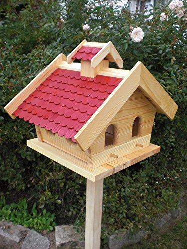 Vogelhaus mit Ständer-(V10+S1)XXL Rot-Vogelhäuser Vogelfutterhaus Vogelhäuschen-aus Holz-DHL Schreinerarbeit- - 2