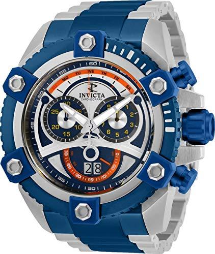 INVICTA 31416 - Reloj de pulsera de acero inoxidable con cronógrafo suizo de reserva de 63 mm, color plateado y azul
