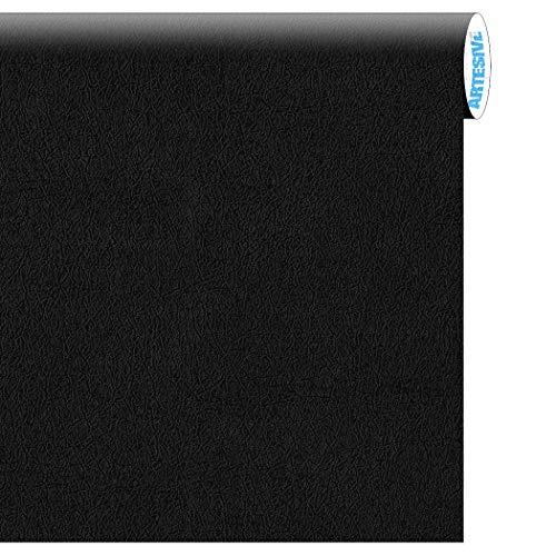 Artesive TEC-022 Pelle Nera larg. 60 cm AL METRO LINEARE - Pellicola Adesiva effetto cuoio per interni, rinnovare mobili, porte e oggetti di casa