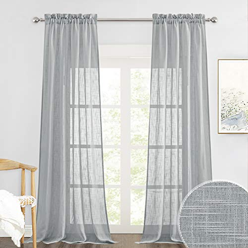 RYB HOME Curtains for Living Room - Linen Texture Sheer Curtains, American Country Style Curtains for Patio Sliding Glass Door French Door Bedroom Dining, Deep Grey, 52 x 95 inches, 2 Pcs