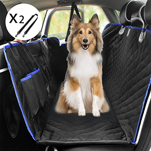 Youfen Hunde Autoschondecke - Hundedecke Rückbank, Hundedecke Auto Kofferraum für Haustiere, Hundedecke Auto Rückbank wasserdichte mit Sichtfenster, Hundeschutzdecke Rücksitz für Auto und SUV (Blau)