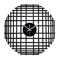 ラウンドウォールクロックSILENメタルクォーツ時計現代装飾のベッドルームオフィス時計ブラック24inch (Color : Black)