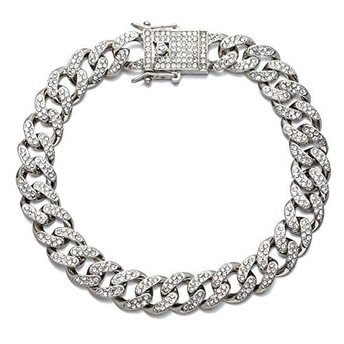 kelistom Cuban Link Anklet Bracelet for Women Men Teen Girls Boys, Hip-hop 18K Gold/White Gold Plated Iced Out Rhinestones Filled Chain Ankle Bracelets, 9' 10' 11'