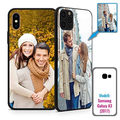 PixiPrints Foto-Handyhülle mit eigenem Bild kompatibel mit Samsung Galaxy A3 (2017), Hülle: Hardcase in Schwarz-Matt, personalisiertes Premium-Case selbst gestalten mit High-End-Druck
