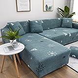 ASCV Funda de sofá reclinable geométrica Funda de sofá para Sala de Estar Funda de sofá elástica para Mascotas Esquina Chaise Longue en Forma de L Funda de sofá A2 3 plazas