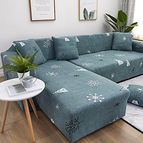 ASCV Funda de sofá reclinable geométrica Funda de sofá Sala de Estar Funda de sofá elástica Esquina para Mascotas Chaise Longue en Forma de L Funda de sofá A2 1 Plaza