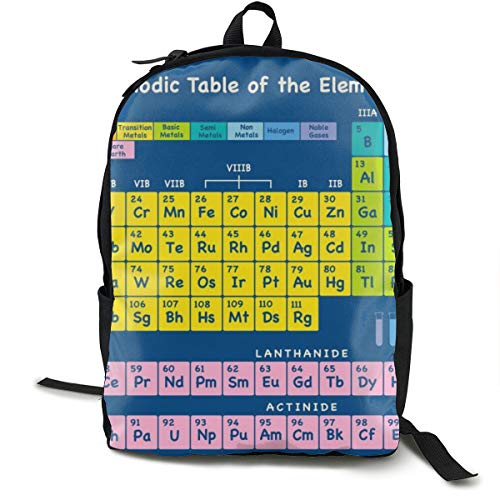 NiYoung Women Men Fashion Large Capacity Anti Thief Travel Business Computer Backpack, Durable Waterproof College School Students Bookbag - Periodic Table of Elements