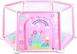 ReallyPow Baby Playpen Fence Baby Playpen Bed Safety Gates for Kids Children Protection  Pink
