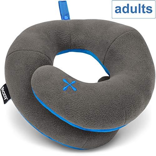 BCOZZY Kinnstütz-Reise-Nackenkissen - Unterstützt den Kopf, Hals und das Kinn bei maximalem Komfort in jeder Sitzposition. Ein patentiertes Produkt. Erwachsenen Größe, GRAU