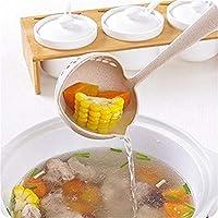 Idiytip 2 in 1 スプーン コランダー スープスプーン 長い柄 お粥スプーン プラスチック フィルタースプーン キッチンスプーン 食器,ベージュ