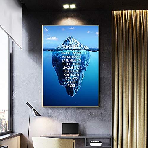wtnhz Geschäftserfolg Baumwurzeln Eisberg Landschaft inspirierende Leinwand Malerei Büro Lernen Dekoration Bild Tapete Kein Rahmen