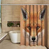 """Fox Womens Shower Curtain Cute Fluffy Face of Forest Fox Young Baby Mammal Predator Canine Vixen Shower Stall Curtain 72""""x72"""",Pale Brown Orange White"""