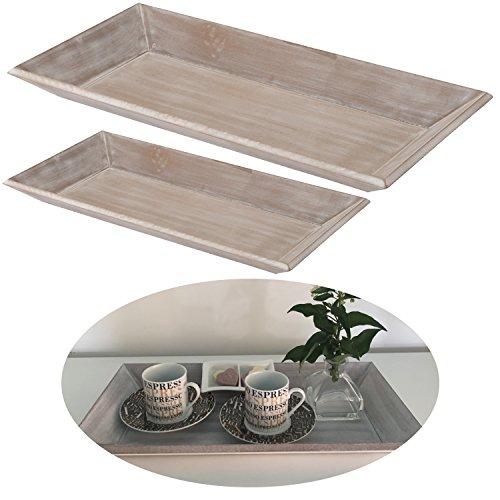 LS-LebenStil Holz Deko-Tablett Grau 40x20cm Serviertablett Teelichthalter Kerzen-Teller Schale