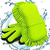 Botocar Car Wash Sponge and 5-Finger Car Wash Mitts Scratch Free, Microfiber Cleaning Gloves for Car Detailing, Extra Large Super Absorbent Soft Chenille Car Washing Sponge Mitt,Lint Free (Green)