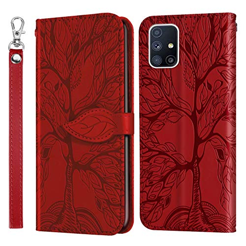 Miagon Prägung Lederhülle für Samsung Galaxy A71,Handyhülle Tasche Brieftasche Hülle Bookstyle Schutzhülle Flip Case Cover Klapphülle Kartenfächer,Baum Rot