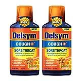 Delsym Adult Liquid - Cough Plus Sore Throat,Honey Flavor, 6 oz. Oz (Pack of 2)