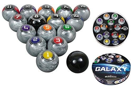McDermott Galaxy Series Professional Billiards Pool Balls in High Gloss Metallic Silver Texture