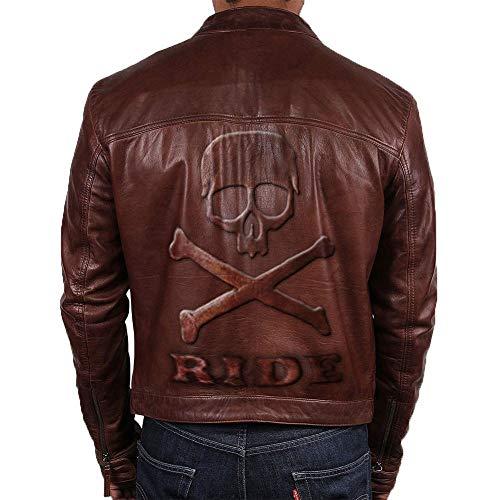 Feather Skin Männer Kleidung Slim Fit Motorbike Vintage Echte Lederjacke Skull Embossed Logo- 3XL