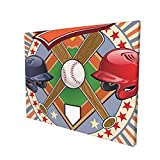Sports Decor Retro Pop Art Style Baseball Logo with Vertical Striped Setting Bat and Ball Game Match Print Multi Painting Premium Panoramic Canvas Wall Art Painting 12'X 16'