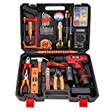 jar-owl 60-Piece Power Tool Set Cordless Drill Set with 16.8V Lithium Driver, Household Hand Tool Kit with Plastic Toolbox Storage Case, Power Tools Combo Kit with Multimeter for Home Repair