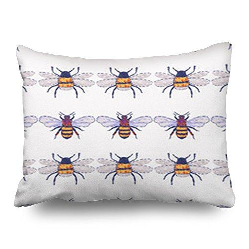 HeroWoW Kussen Kussenhoezen Borduurwerk Honing Bee Insect Patch Fashion Textures Drukke Abstract Art Aangepaste Decor Kussenslopen Aangepaste Home Decoratieve Kussenslopen