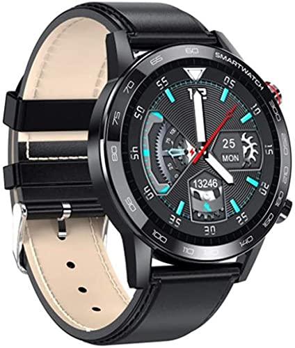 Reloj inteligente para hombre, reloj de pulsera de fitness para mujer, impermeable, ejercicio de ritmo cardíaco, podómetro, rastreador de actividad, cuero negro