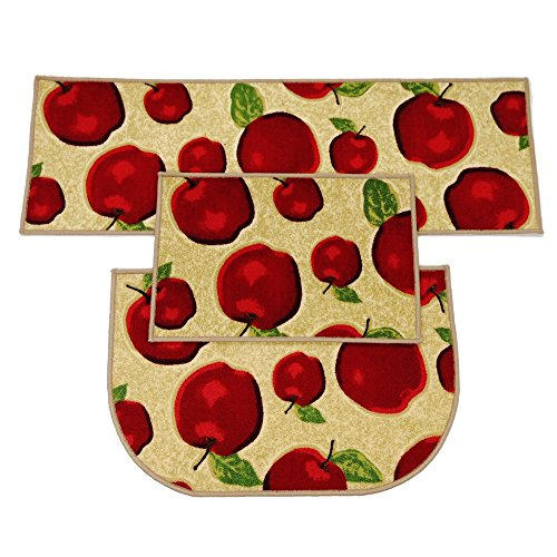 Wolala Home 3 Piece Sets Rubber Backing Non-Slip Red Apple Kitchen Rug and Carpet Machine Washable D-Shape Doormat Bathroom Foot Pads Thin (3pcs Sets, Multi)
